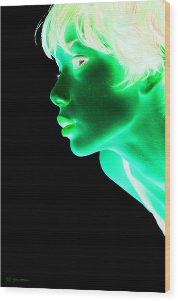 Inverted Realities - Green  Wood Print