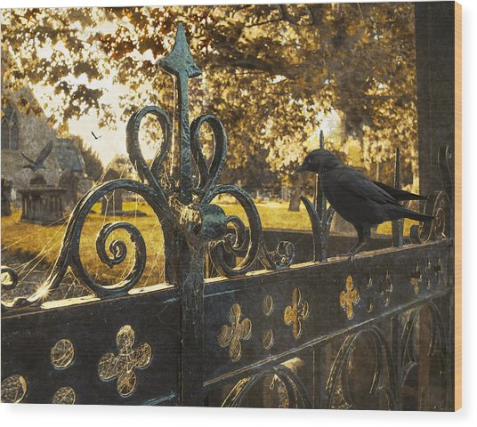 Jackdaw On Church Gates Wood Print