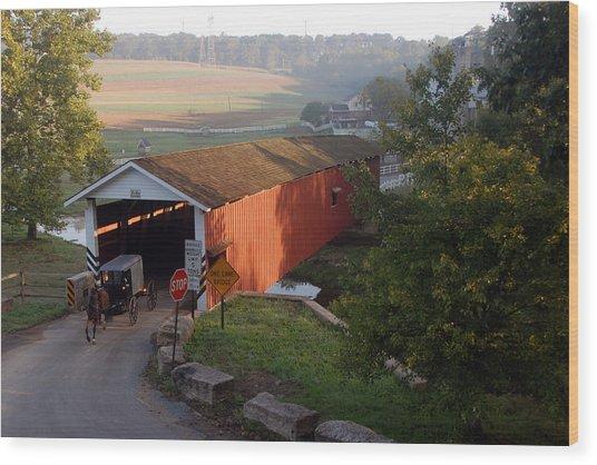 Jacksons Sawmill Covered Bridge Wood Print