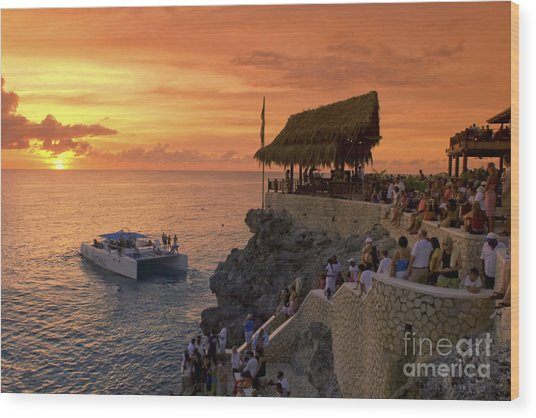 Wood Print featuring the photograph Jamaica Negril Ricks Cafe by Juergen Held