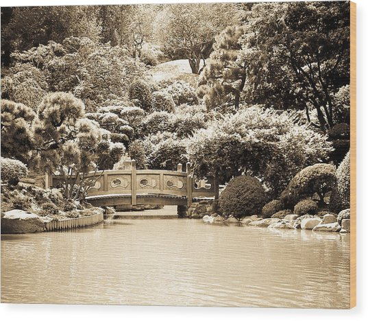 Japanese Hill And Pond Garden New York Wood Print