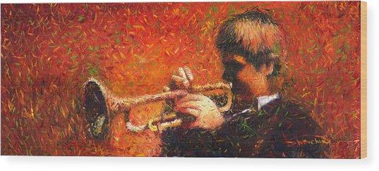 Jazz Trumpeter Wood Print