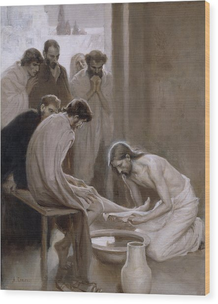 Jesus Washing The Feet Of His Disciples Wood Print