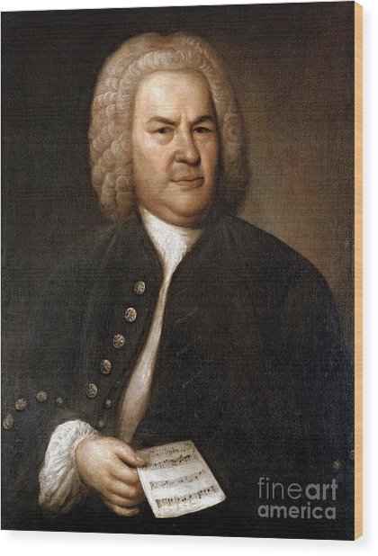 Johann Sebastian Bach, German Baroque Wood Print
