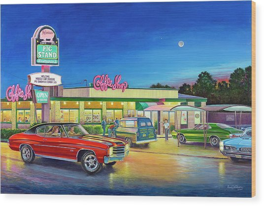 Muscle Car Cruise Night Wood Print