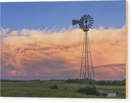Kansas Windmill And Storm Wood Print