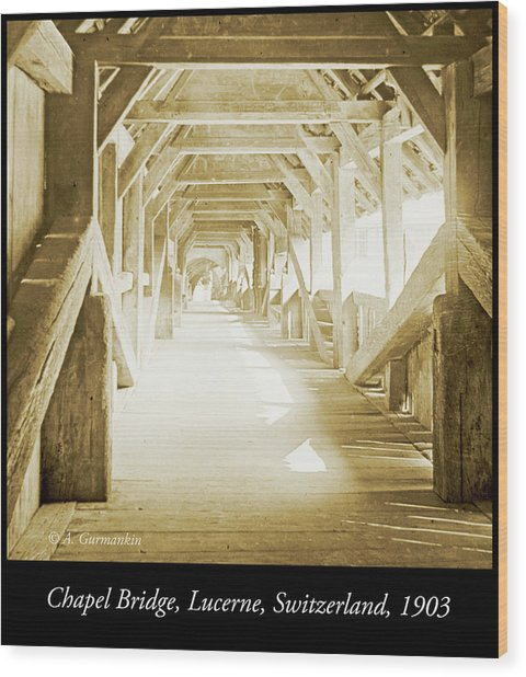 Kapell Bridge, Lucerne, Switzerland, 1903, Vintage, Photograph Wood Print