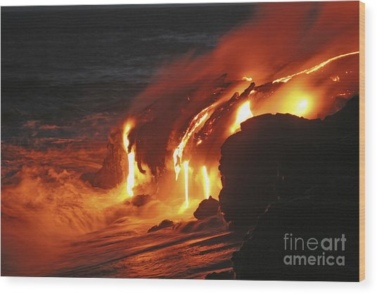 Wood Print featuring the photograph Kilauea Lava Flow Sea Entry, Big by Martin Rietze