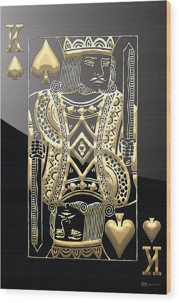 King Of Spades In Gold On Black   Wood Print