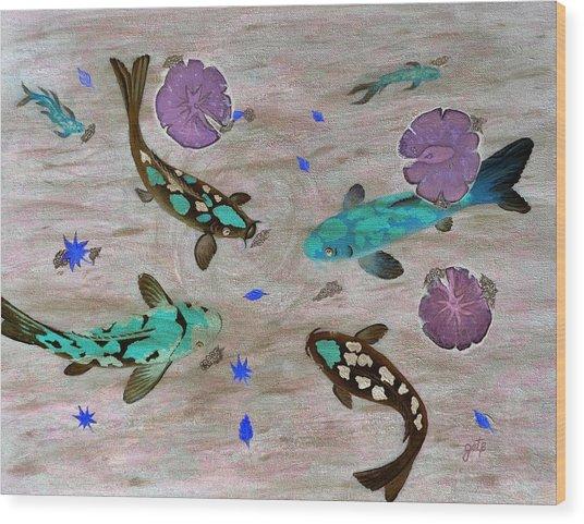 Koi Fish Feng Shui Wood Print