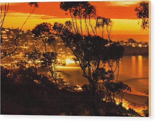 La Jolla Sunset Wood Print