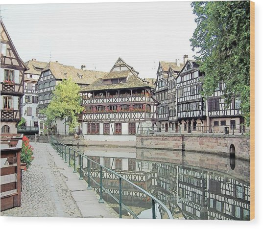 La Petite France Strasbourg France Color Pencil Wood Print