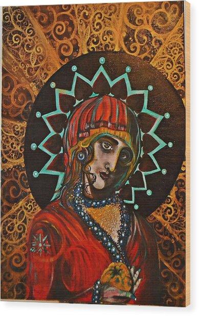 Lady Of Spades Wood Print
