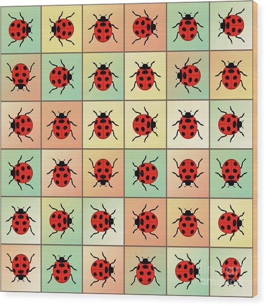 Ladybugs Pattern Wood Print