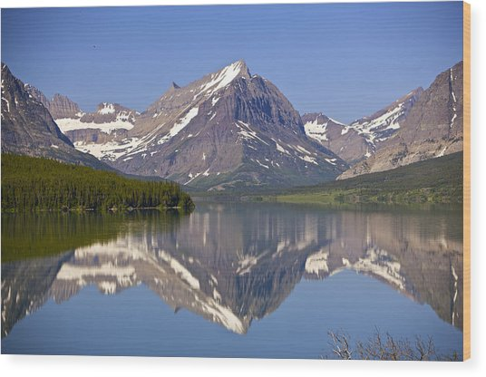 Lake At Many Glacier Wood Print by Richard Steinberger