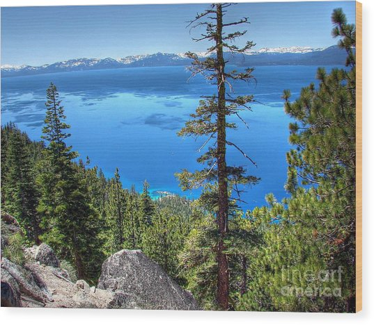 Lake Tahoe From Flume Trail Over Sand Harbor State Park Wood Print