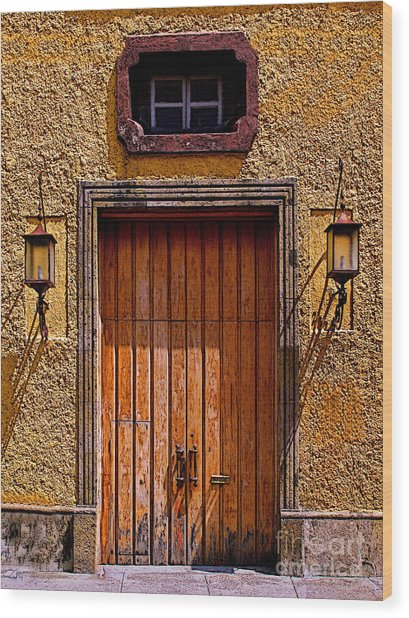 Lamps And Door Wood Print by Mexicolors Art Photography