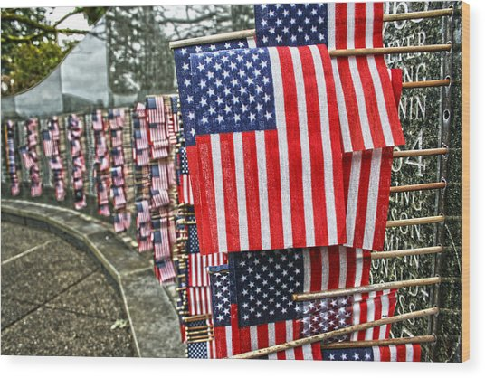 Land Of The Free Wood Print by Kerry Langel