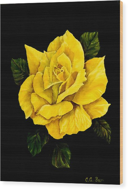 Large Yellow Rose Wood Print