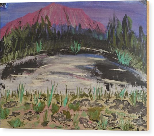 Lavender Mountain Wood Print by Marie Bulger