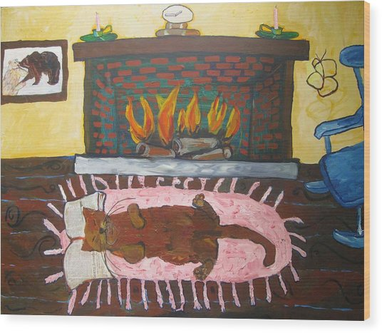 Wood Print featuring the painting Lazy Melting Cat by AJ Brown