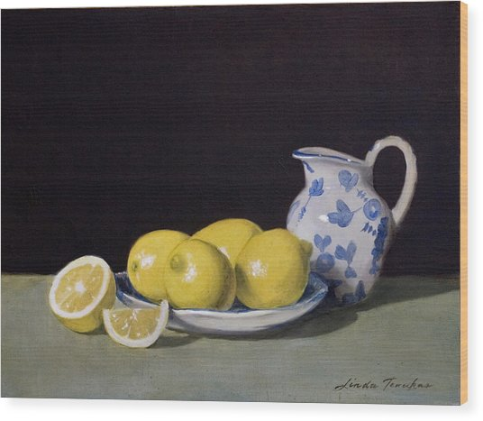 Lemon Cream Wood Print