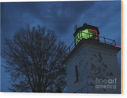 Lighthouse At Night Wood Print