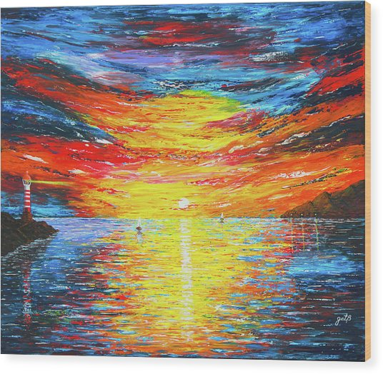 Wood Print featuring the painting  Lighthouse Sunset Ocean View Palette Knife Original Painting by Georgeta Blanaru