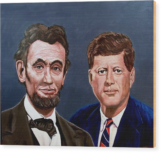 Lincoln And Kennedy Wood Print by Stan Hamilton