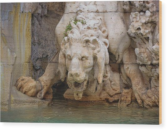Lion In The Fountain Wood Print by JAMART Photography