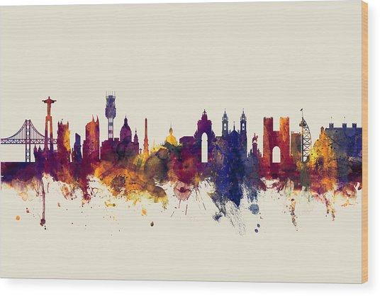 Lisbon Portugal Skyline Wood Print