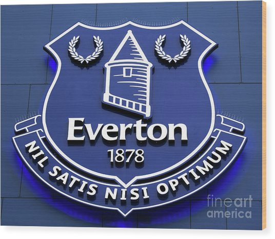 Liverpool Uk, 25th February 2017. Everton Football Club Crest On The Exterior Of Their Stadium At Goodison Park, Liverpool Uk. Wood Print