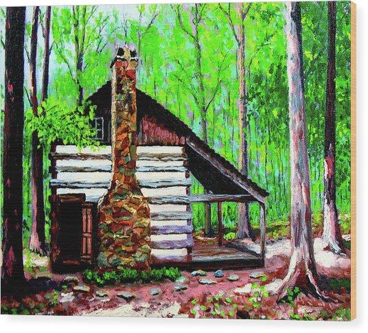 Log Cabin V Wood Print by Stan Hamilton
