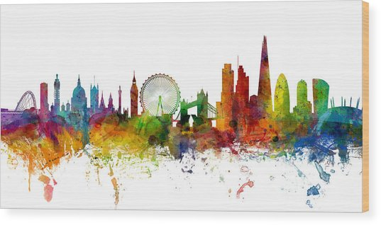 London England Skyline Panoramic Wood Print