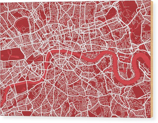 London Map Art Red Wood Print
