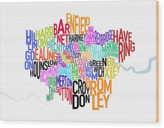 London Uk Text Map Wood Print