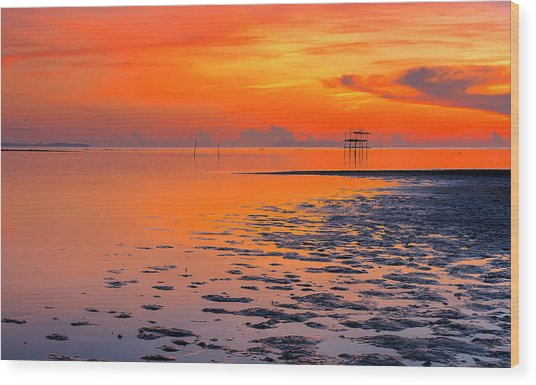 Wood Print featuring the photograph Lonely Hut In Sea At Sunrise by Pradeep Raja PRINTS