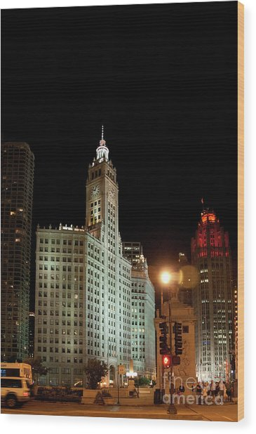 Looking North On Michigan Avenue At Wrigley Building Wood Print
