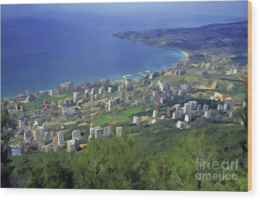 Looking Over Jounieh Bay From Harissa Wood Print