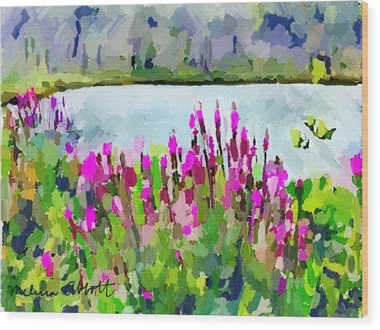 Loosestrife Blooming At Sleepy Hollow Pond Wood Print