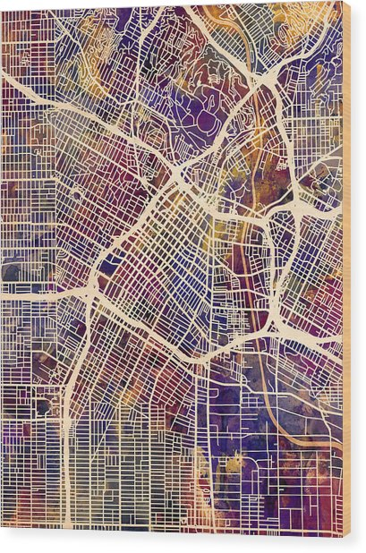 Los Angeles City Street Map Wood Print