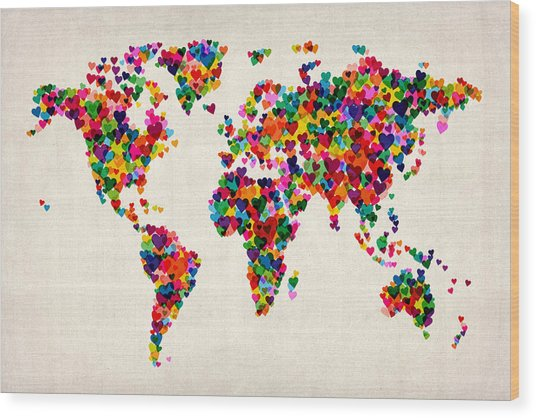 Love Hearts Map Of The World Map Wood Print