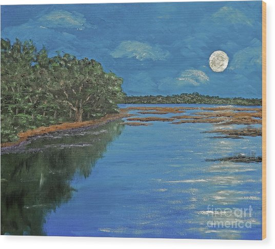 Lowcountry Moon Wood Print