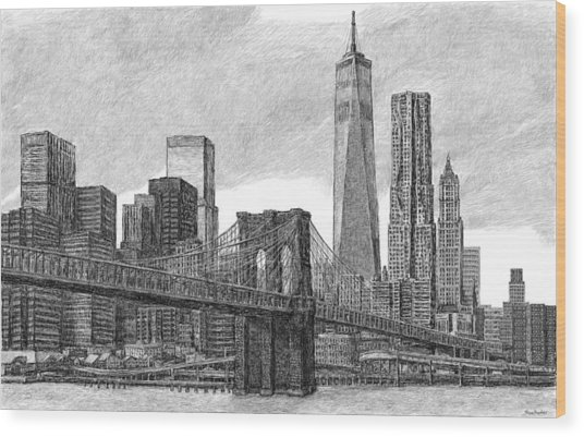 Lower Manhattan Skyline Wood Print