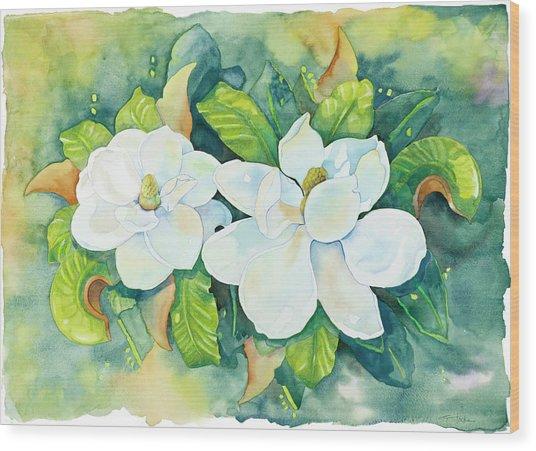 Magnolias Wood Print by Cathy Locke