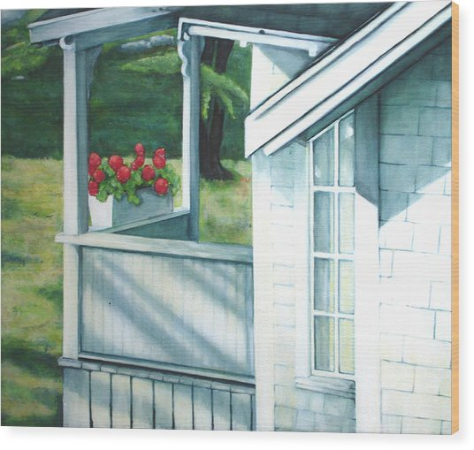 Maine Porches Number One Wood Print by Leo Malboeuf
