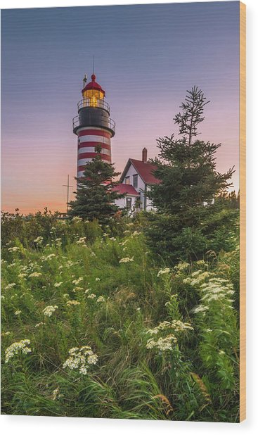 Maine West Quoddy Head Light At Sunset Wood Print