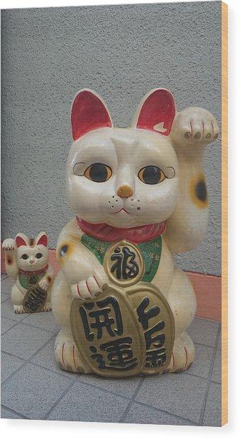 A Figure Of A Beckoning Cat, Called 'manekineko' Wood Print