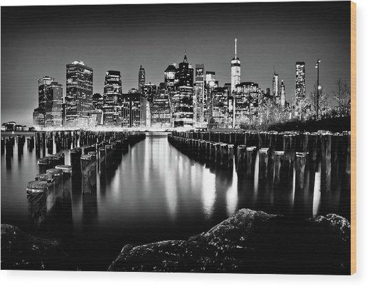 Manhattan Skyline At Night Wood Print