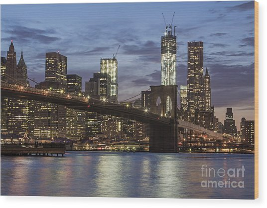Wood Print featuring the photograph Manhattan Skyline New York by Juergen Held